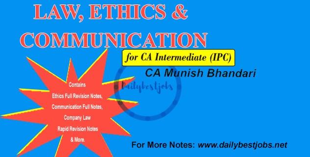 CA IPCC Law Book Notes Munish Bhandari Free Download, Munish Bhandari Law Book PDF