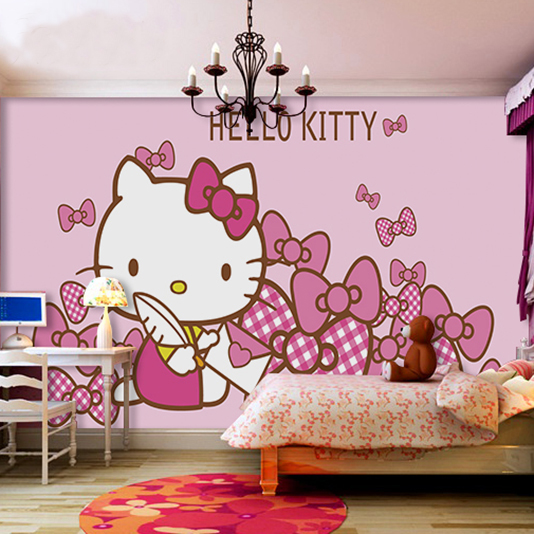 Wall Mural Hello Kitty Wallpaper Kid Bedroom Children Girl Baby Wallpaper  Mural Pink