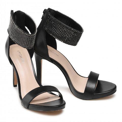 Sandale negre elegane de ocazii cu banda cu strassuri negre