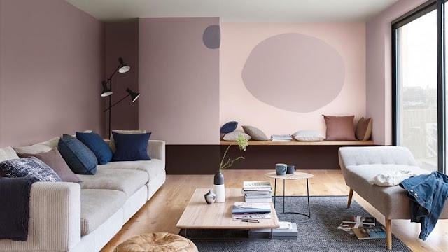 Mẫu thiết kế nội thất phòng khách màu hồng đặc biệt