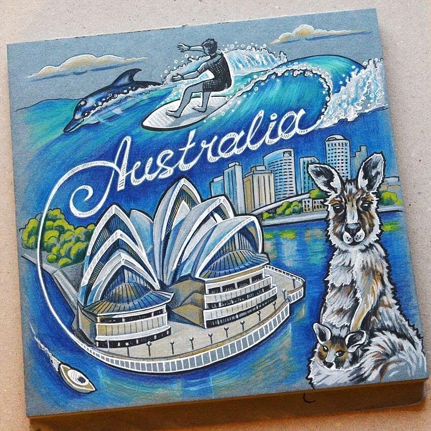 01-Australia-Anna-Cheberiak-Travel-Journal-Countries-Plus-Fantasy-Drawings-www-designstack-co