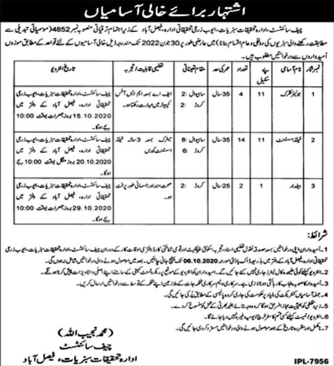 JOBS | Agriculture Research Center Faisalabad  Positions