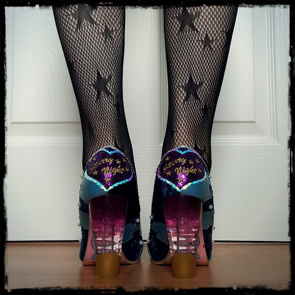 wearing Irregular Choice Stars At Night perspex and heart heels
