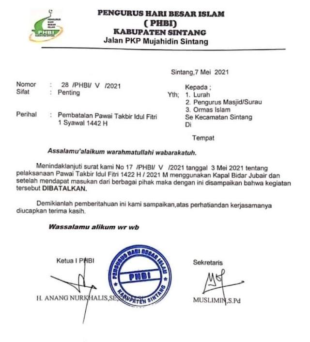 PHBI Kabupaten Sintang Batalkan Pawai Takbiran Sambut Idul Fitri 1442 H