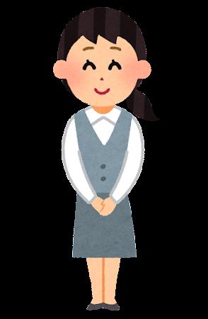 事務の女性のイラスト「こちらへどうぞ」