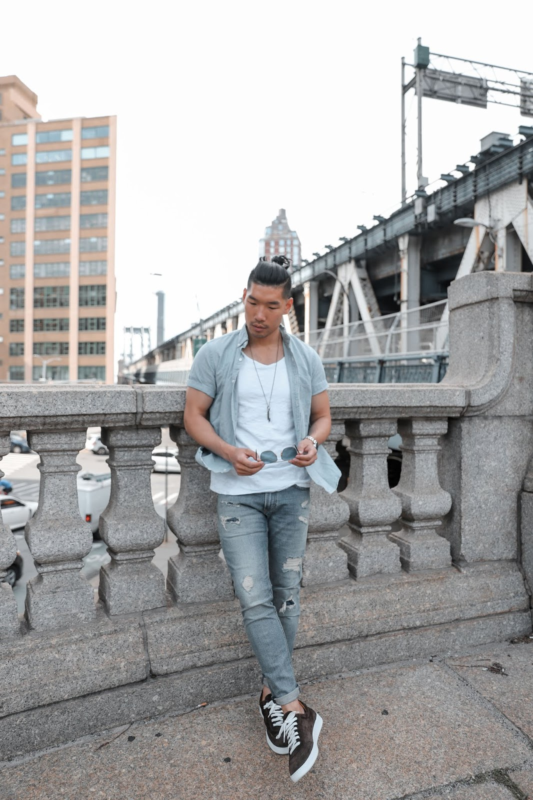 Leo Chan wearing Tristian Suede Sneaker from Gordon Rush, Menswear Blogger
