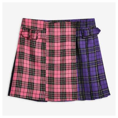 Pink & Purple Topshop plaid kilt skirt