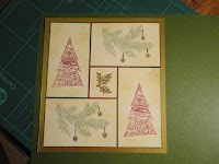 Collage Christmas card with green background