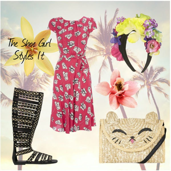 Polyvore outfit set for Wallis pink floral dress with gladiator sandals