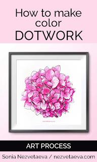 How to make a color dotwork illustration, hydrangea, marker sketch, Sonia Nezvetaeva, artist diary