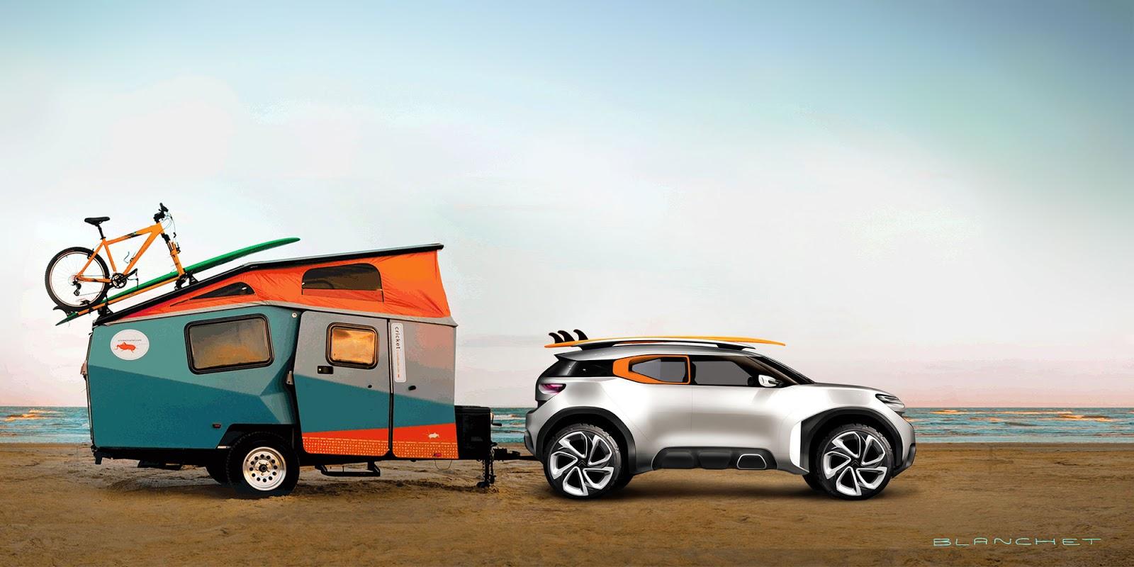 Citroen Aircross concept 2015 plus caravan, sketch by Gregory Blanchet