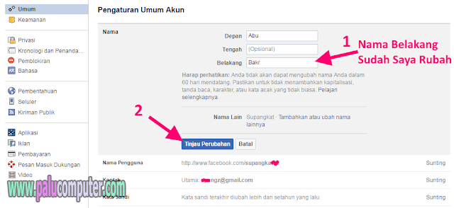 cara merubah nama akun fb