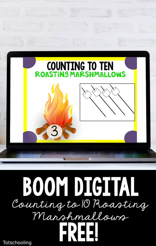 FREE Digital BOOM cards for preschoolers to practice counting with a camping theme - roasting marshmallows!