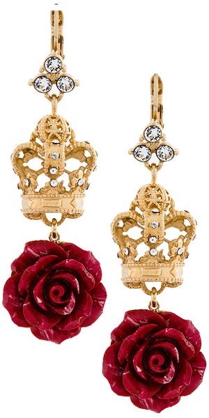 DOLCE & GABBANA  filigree crown rose drop earring