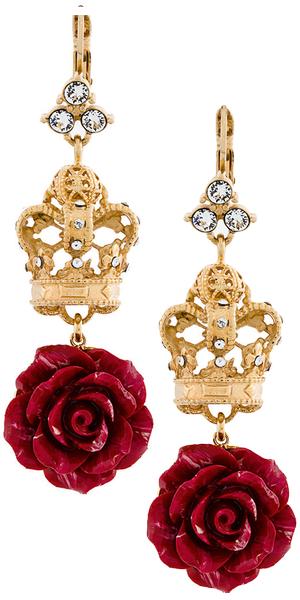 DOLCE & GABBANA  filigree crown rose drop earring
