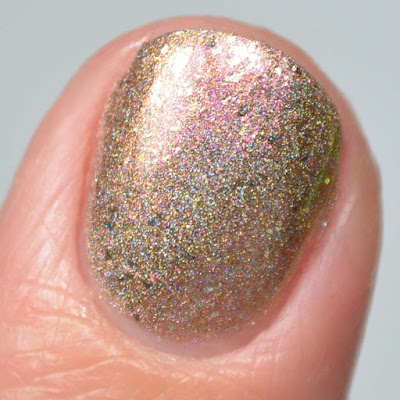 holographic champagne nail polish close up swatch