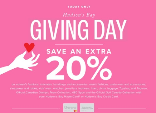 Hudson's Bay 20% Off Giving Day Promo Code