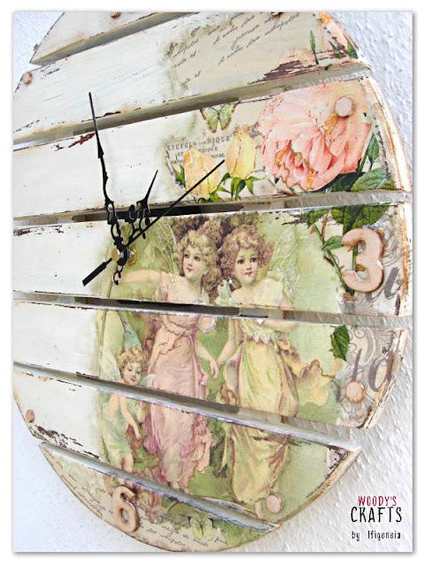 ξυλινο χειροποιητο ρολοι τοιχου με τεχνικη ντεκουπαζ,ντεκουπαζ σε ξυλο,ξυλινα χειροποιητα διακοσμητικα με ντεκουπαζ,ιστορια του ντεκουπαζ