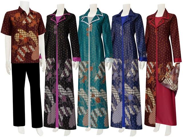 Foto Baju Busana Muslim Batik Lebaran Model Terbaru Trend 2014