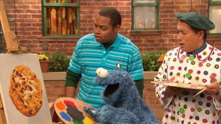 Cookie Monster, Alan, Chris, Sesame Street Episode 4407 Still Life With Cookie season 44