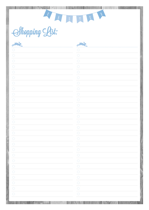 Free Printable Easter Planner Shopping List