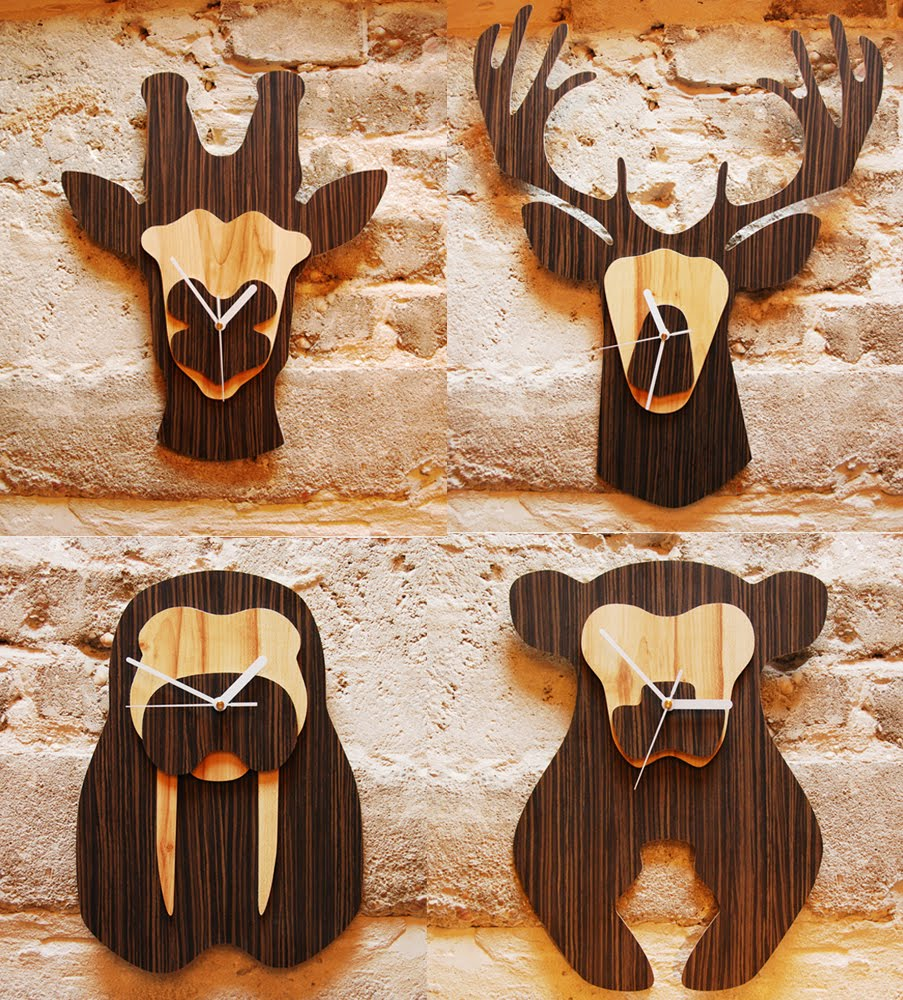 If its hip its here archives wood jungle wall clocks by nir wood jungle wall clocks by nir meiri walrus giraffe bear deer amipublicfo Image collections