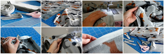 Ste-by-step instructions for sewing binding to the edge of a fleece dog blanket