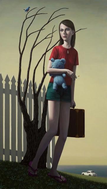 Obra de arte, pintura contemporanea: joven abandonando su casa, carga un oso de peluche azul y una maleta, al fondo el oceano, la chica fuma, hay un árbol deshojado. Cool picture.