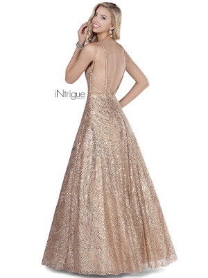 A-line open back intrigue by blush prom dress Rose Gold Color Back side