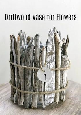 Pinterest pin of driftwood vase