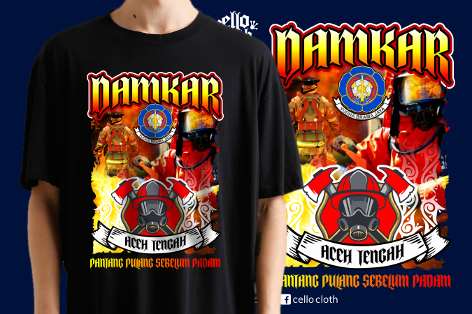 Kaos Damkar Pemadam Kebakaran Aceh Tengah - Contoh Desain Kaos Sablon Raster