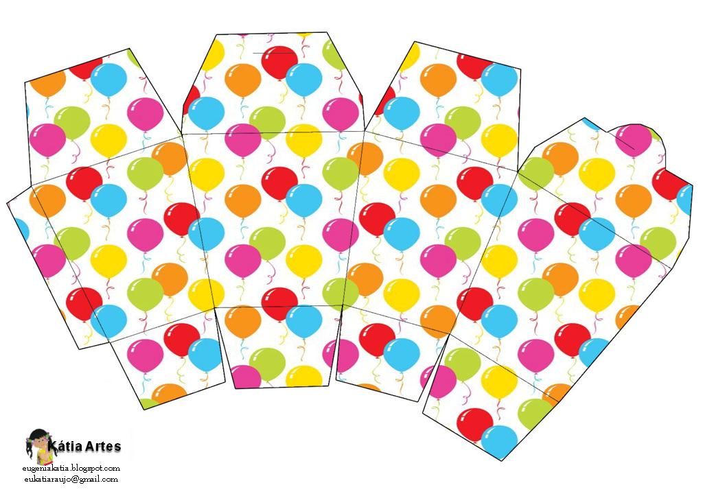 Globos De Colores: Caja Estilo De Comida China Para