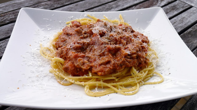 Spaghetti with Double Meat Ricotta Sauce