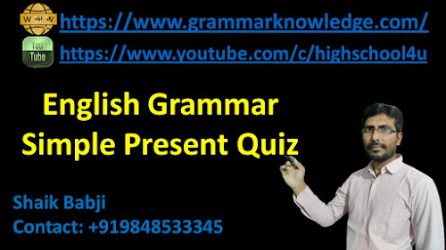 English Grammar  Simple Present Quiz
