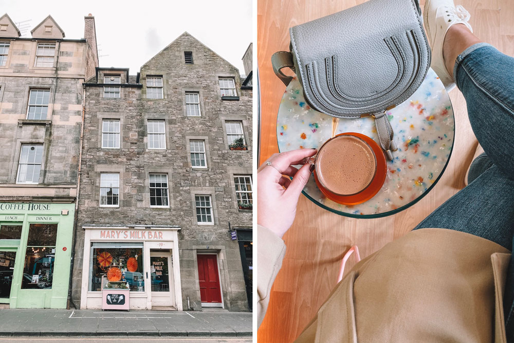 Travel blogger Amanda Martin sips hot chocolate at Mary's Milk Bar in Edinburgh
