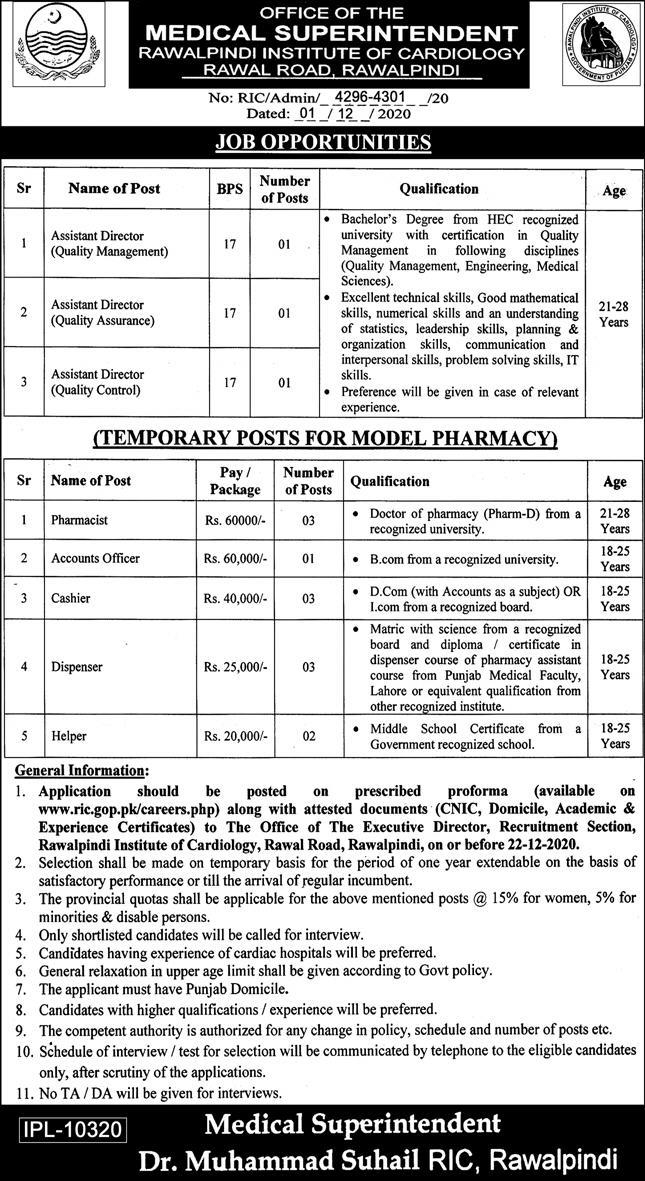 Rawalpindi Institute of Cardiology Jobs 2020