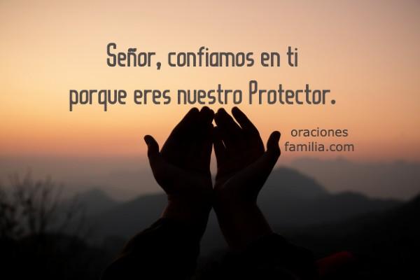 imagen con oracion de la noche manos proteccion de Dios