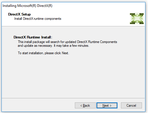 Next Install DirectX