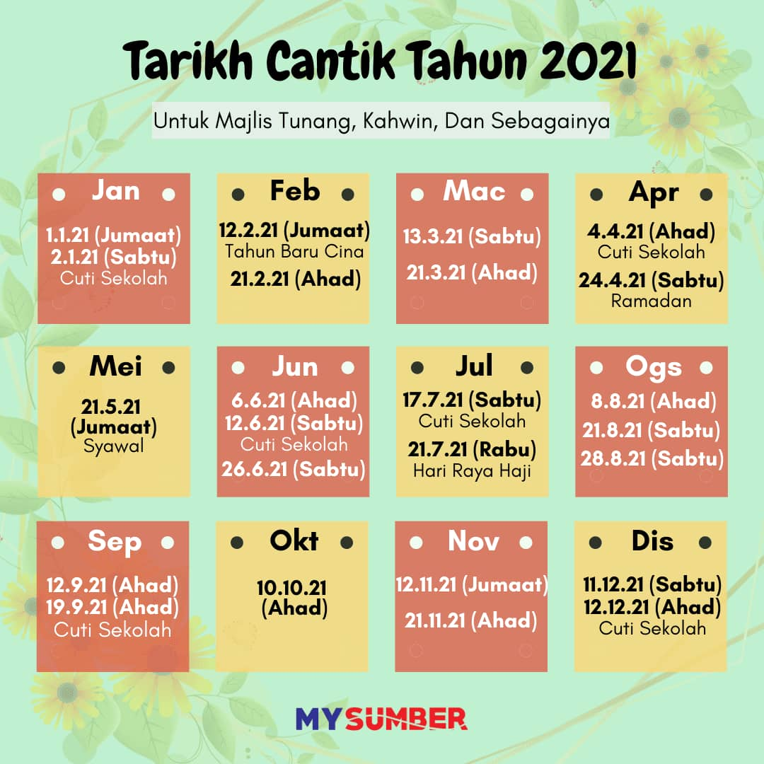 tarikh cantik tahun 2021 untuk kahwin tunang