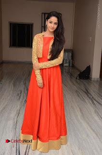 Telugu Actress Divya Nandini Stills in Orange Sleeveless Gown at Chennai Chaitrama Movie le Launch Event  0121.JPG