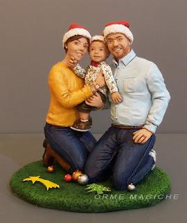 statuetta personalizzata da foto famiglia bambino cake topper natale orme magiche