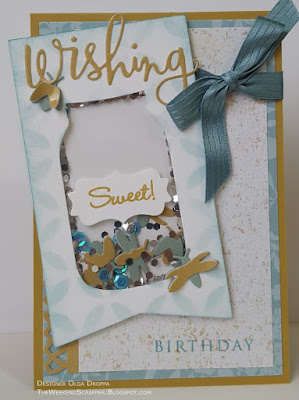 Handmade card based on Mojo450 sketch, shaker style with mason jar die cut and fireflies