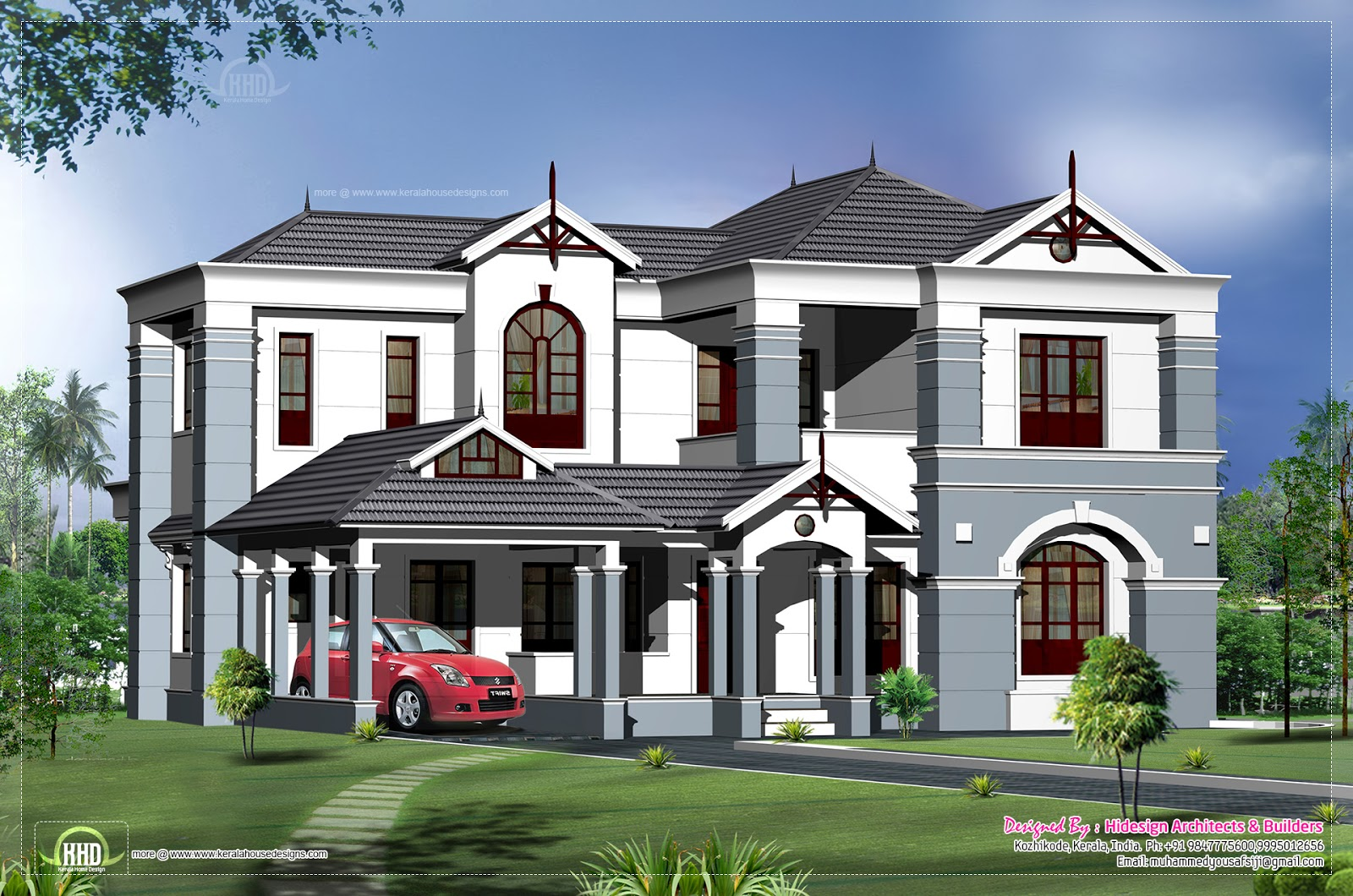2500 house elevation design kerala home design for 2500 sq ft home