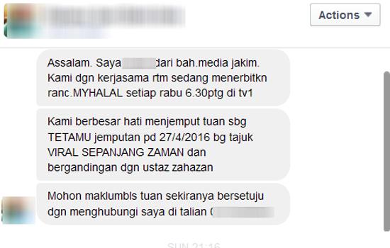 Dijemput Sebagai Tetamu Jemputan Untuk Program MyHalal JAKIM-RTM