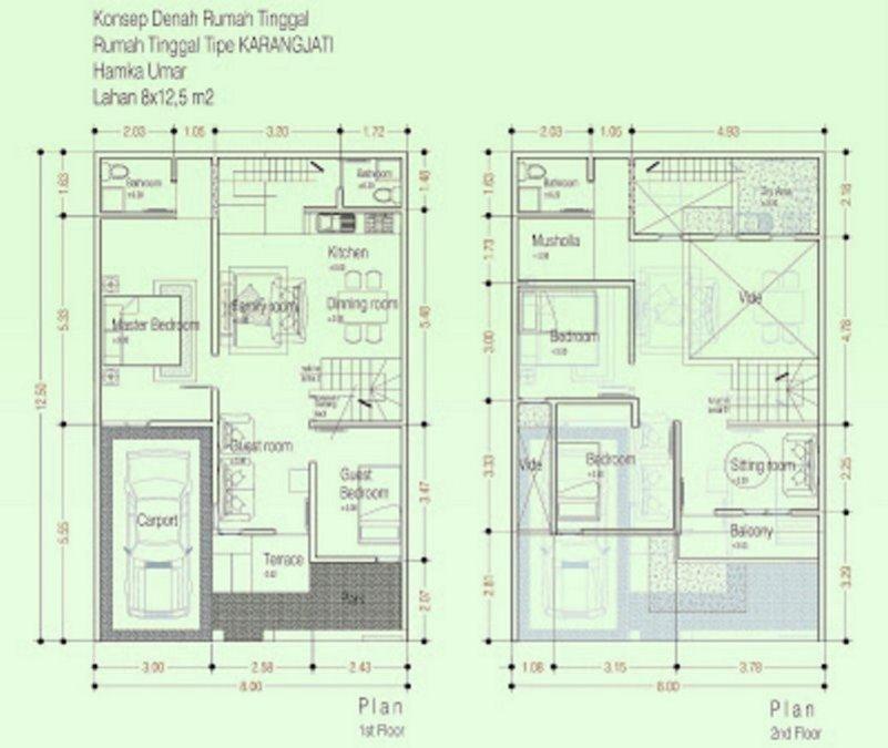 denah rumah 8x12 dua lantai 3 kamar tidur 2