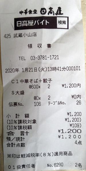 日高屋 武蔵小山店 2020/1/21 飲食のレシート
