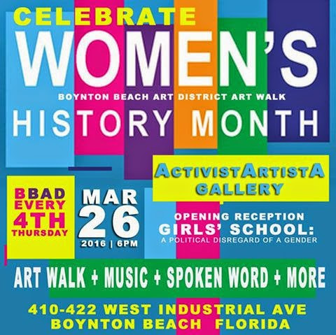 Come out TONIGHT @ 6:00 p.m. for the Boynton Beach Art District's Art Walk, celebrating Women's History Month.