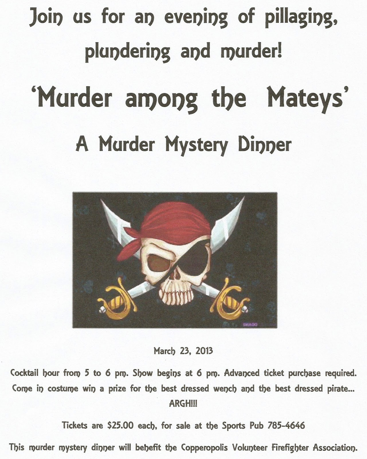 Best Murder Mystery Dinner Free: Copper Gazette: Murder Mystery Dinner At The Sports Pub