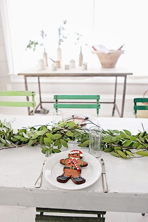 Holiday Gingerbread Man cookie on white plate romantic Farmhouse Christmas holiday decorating shabby chic