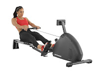 Schwinn Crewmaster Rowing Machine, with durable nylon transmission system, ergonomic grip handle, large padded seat, oversized steel rail, adjustable magnetic resistance with turn dial knob, LCD fitness monitor